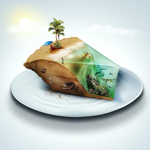 3D island on the plate wallpaper