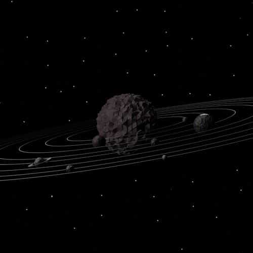 3d solar system dark space art minimal
