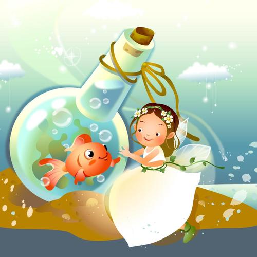 A Fairy A Fish In A Bottle wallpaper