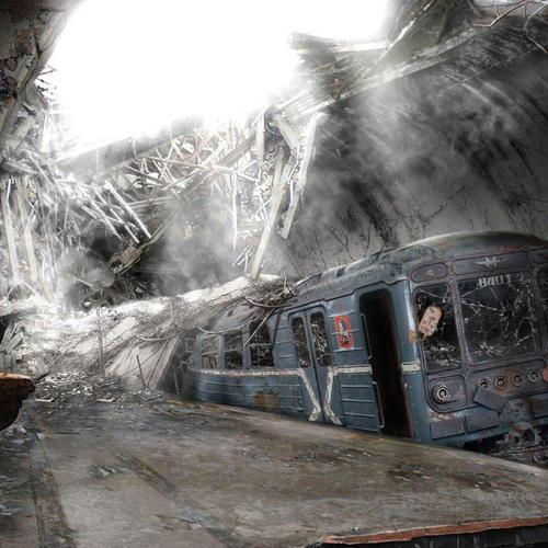 Abandoned subway train wallpaper