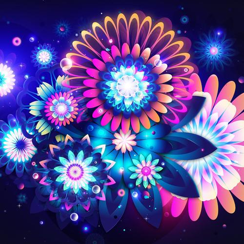 Abstract colorful flowers wallpaper