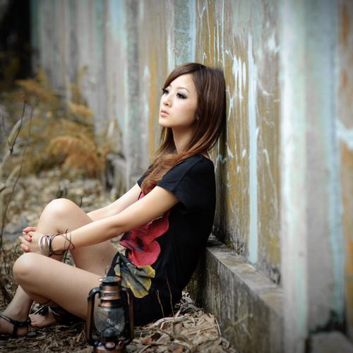 Alone asian girl wallpaper