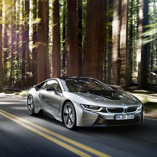 Amazing BMW I8 in the forest wallpaper