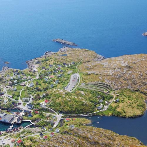Amazing coastal village in Norway from up high wallpaper