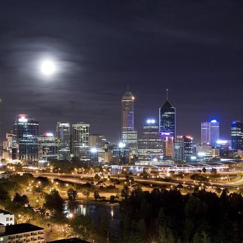 Amazing moonlit cityscape