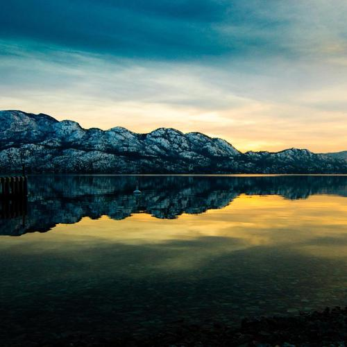 Amazing reflection of mountains on the lake