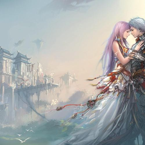 Anime Girl Boy Love Castle Original