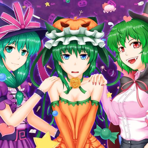 Anime girls preparing for halloween wallpaper