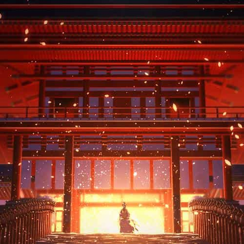 anime painting temple red art illustration