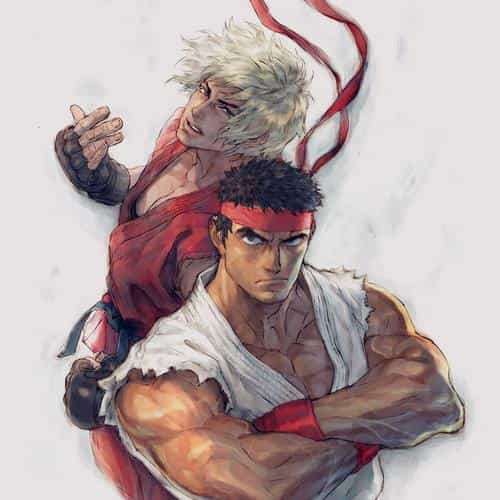anime street fighters ryu ken art illust