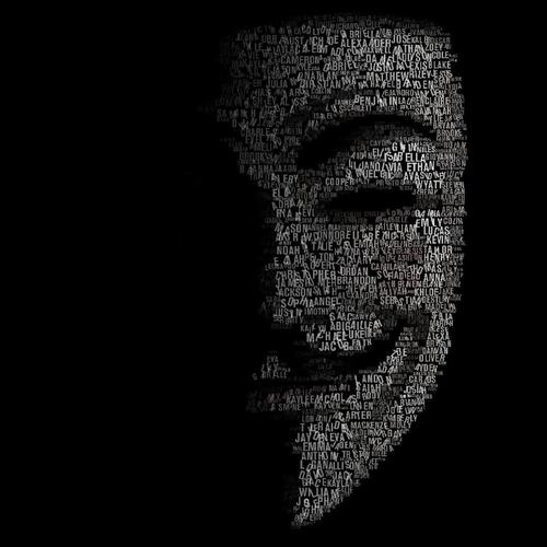 Anonymous mask made by words
