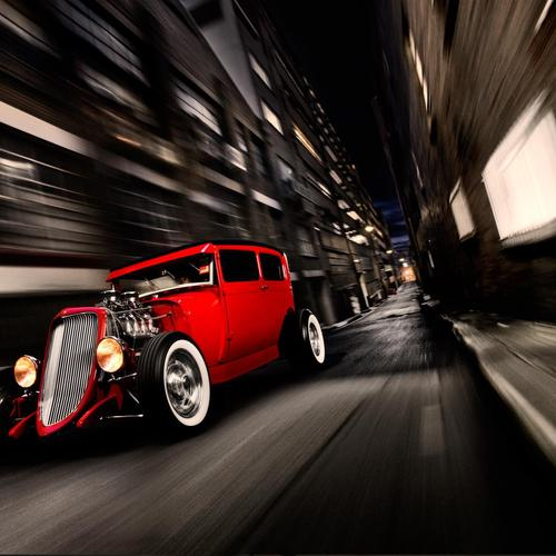 Antique red car speed up
