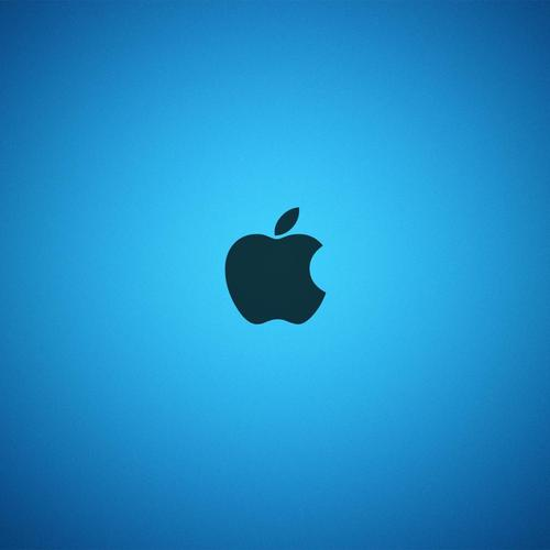 Apple logo in blue background