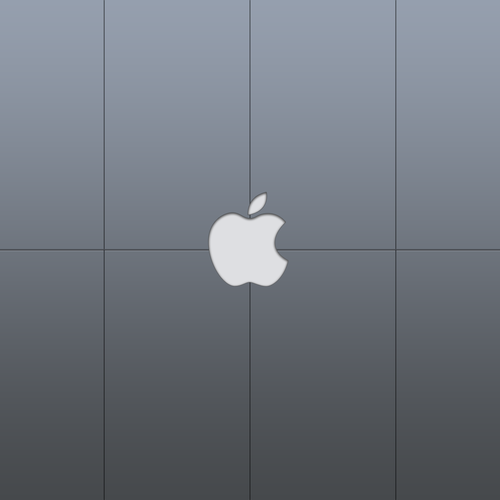 Apple logo in steel panels