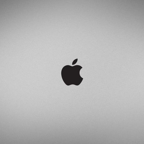 Apple logo on platinum surface