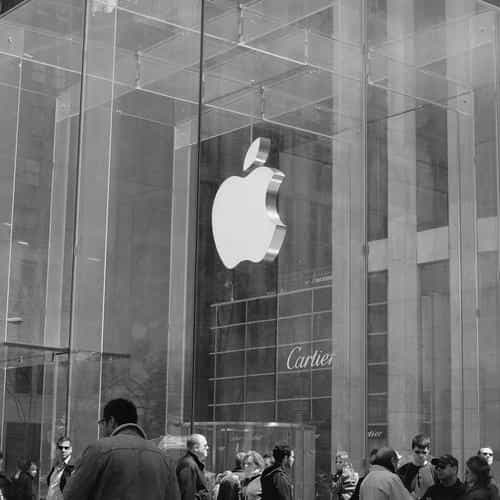 apple shop newyork dark bw cartier city