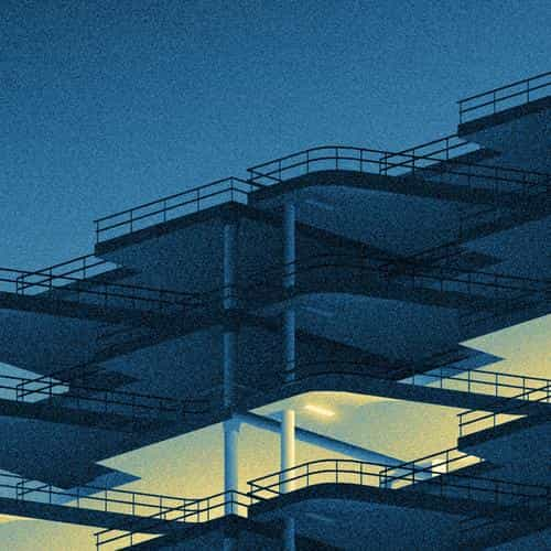 architecture minimal blue illustration art