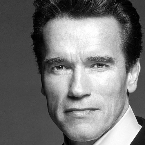 Arnold Schwarzenegger in suit black and white portrait