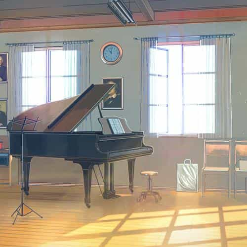 arseniy chebynkin music room piano illustration art