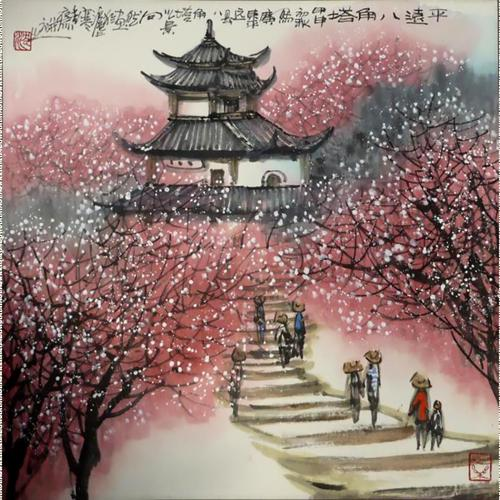 Asian Art with chinese castle wallpaper
