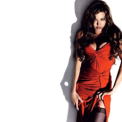 Attractive Angelina Jolie in red dress wallpaper