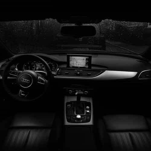 audi car interior dark bw