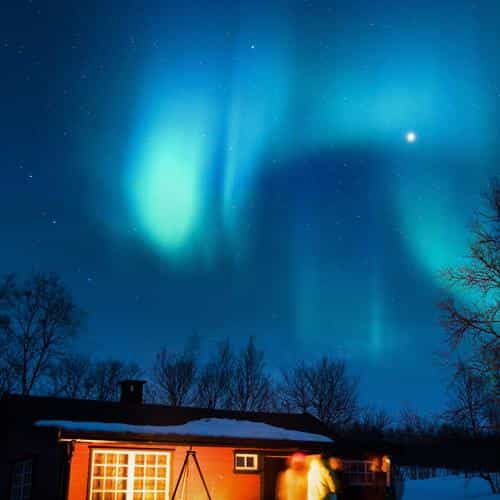 aurora canada house night winter mountain sky