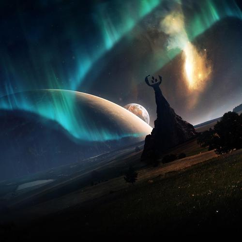 Aurora over strange planet wallpaper