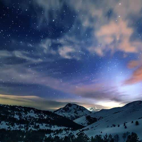 aurora star sky snow mountain winter nature
