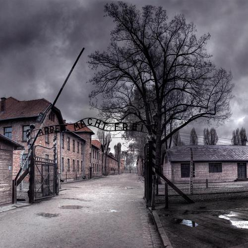 Auschwitz concentration camp in mean skies wallpaper