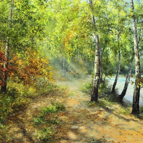 Autumn birches painting