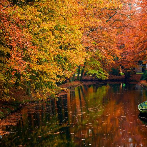 Autumn River With Boat wallpaper