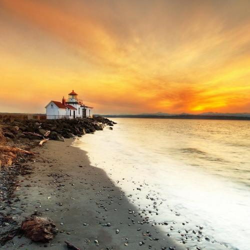 Awesome sunset over lighthouse wallpaper