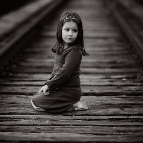 Baby girl Sunday Afternoon black and white railway wallpaper