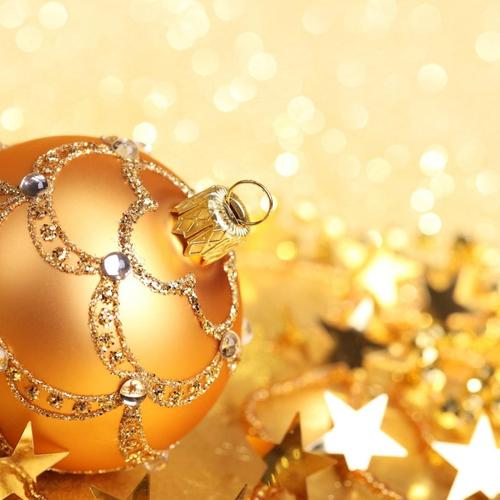 Download Ball Gold Christmas Stars Glitter New Year High quality wallpaper