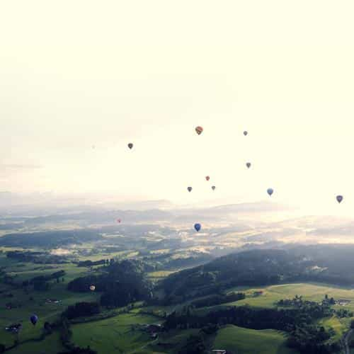 balloon party green blue wide mountain nature