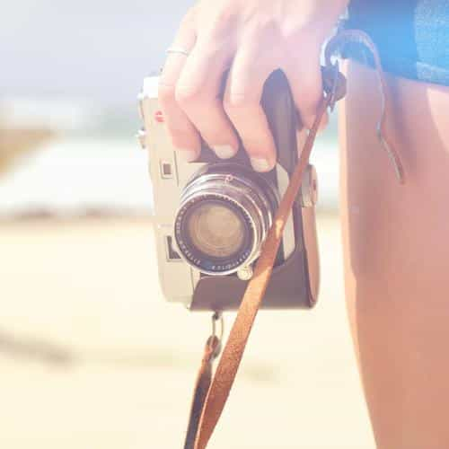 beach camera hand vacation summer flare