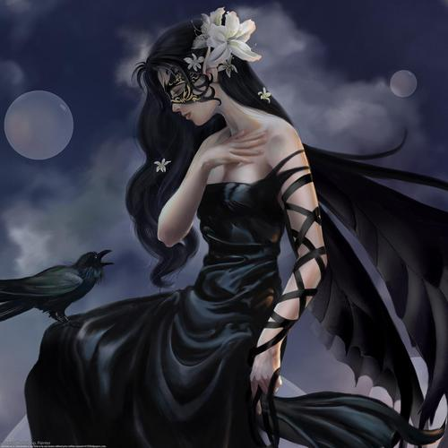 Beautiful anime dark lady