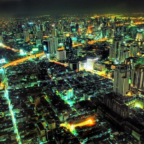 Beautiful Bangkok cityscape in night wallpaper