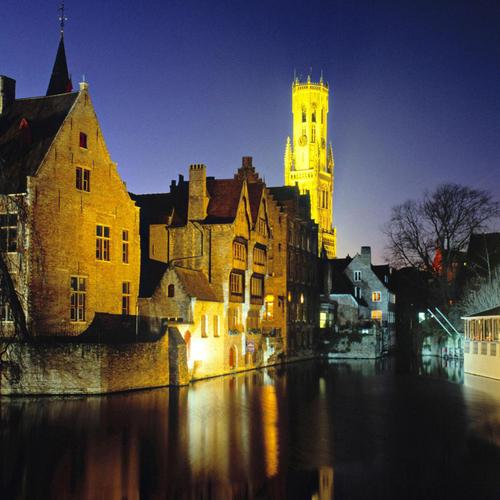 Beautiful Canals at night in Bruges Belgium