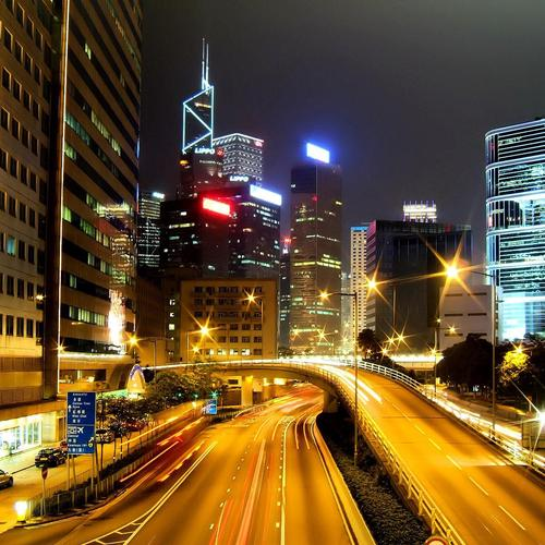 Smukke City Lights i Hong Kong tapet