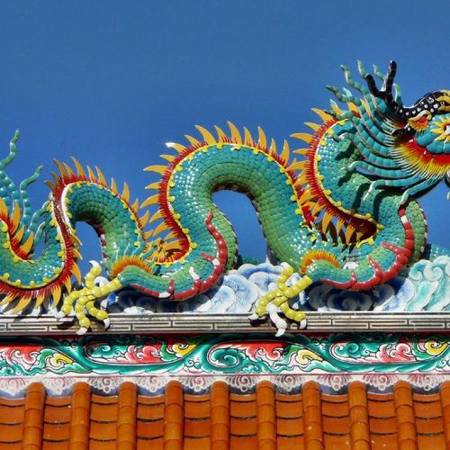 Beautiful Dragon above Chinese temple wallpaper