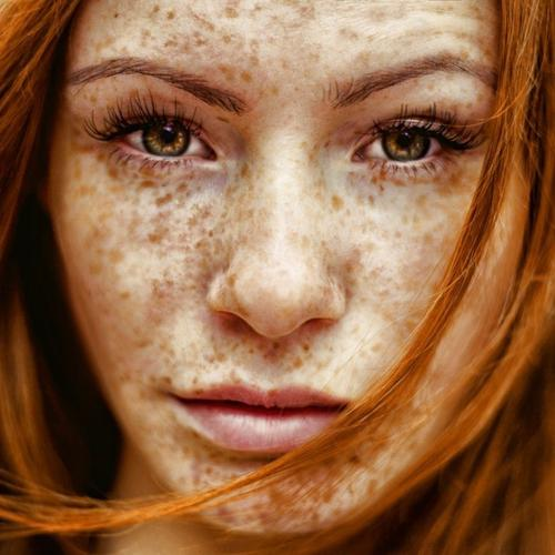 Beautiful freckled girl portrait