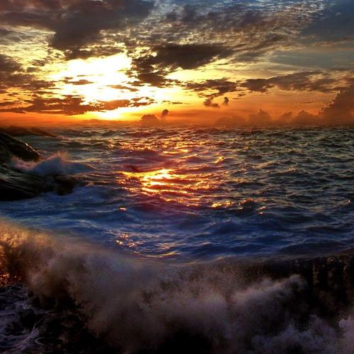 Beautiful rough sea at sunset