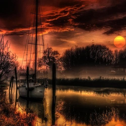 Beautiful Sailboat Moored At Looming Dusk Hdr wallpaper