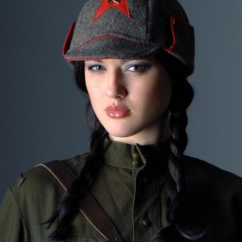 Beautiful women soldier in Soviet uniform