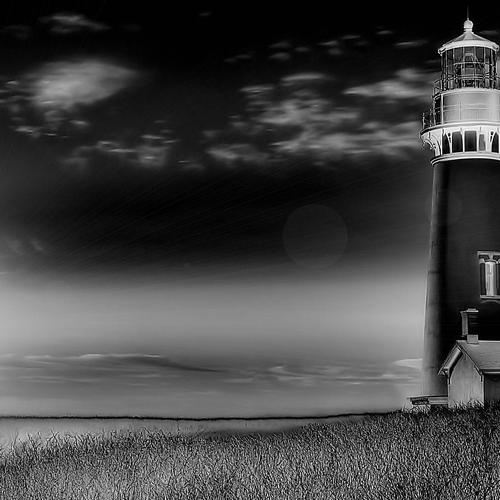 Beeautiful Lighthouse black and white wallpaper