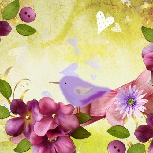 Bird with purple flower collage wallpaper