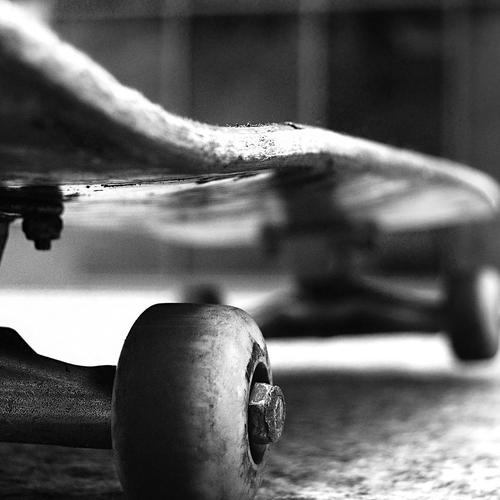 Black and white old skateboard