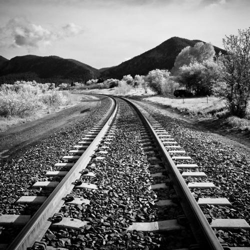 Black and white railway wallpaper